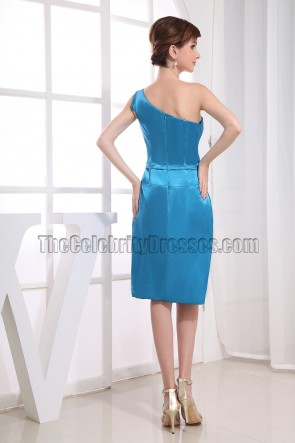 Blue One Shoulder Knee-Length Cocktail Dress Bridemaid Dresses