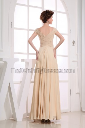 Off-the-Shoulder Champagne Prom Gowns Formal Dresses