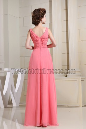 Watermelon Chiffon Beaded Prom Dress Evening Dresses