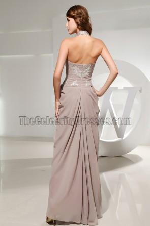 Floor Length Halter Beaded Prom Dress Evening Dresses