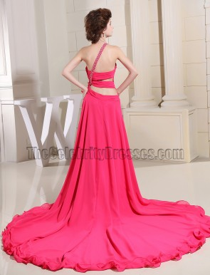 Fuchsia One Shoulder High Low Prom Dress Evening Gowns