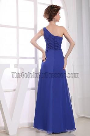 Discount Royal Blue One Shoulder Prom Bridesmaid Evening Dresses
