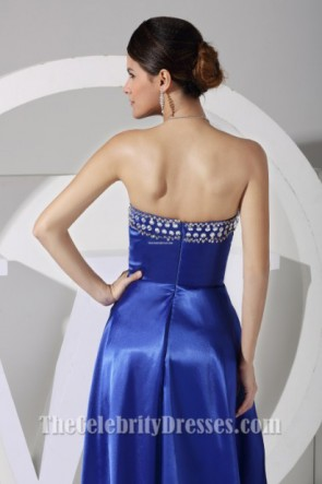 New Style Royal Blue Strapless High Low Prom Dress Evening Gown
