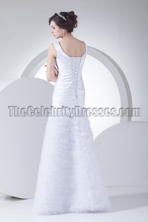 New Style Scoop Neckline Full Length A-Line Wedding Dress