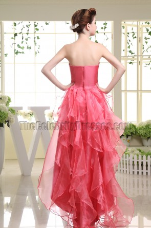 Watermelon Strapless A-Line High Low Prom Gown Evening Dresses