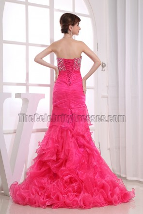 New Style Strapless Fuchsia Prom Dress Evening Formal Dresses