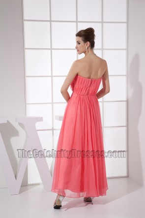 New Style Water Melon Strapless Prom Gown Party Dress