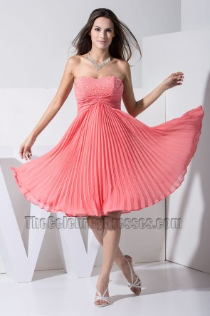 New Style Strapless Sweetheart Chiffon Cocktail Dress Party Homecoming Dresses