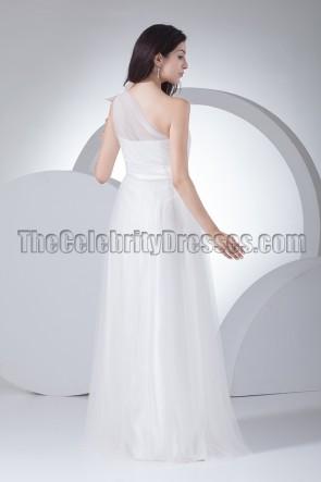 Floor Length Tulle One Shoulder Wedding Dresses