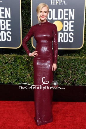 Nicole Kidman Burgundy Sequined Column Dress 2019 Golden Globes Red Carpet