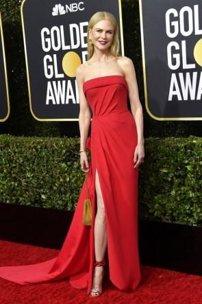 Nicole Kidman Red Strapless Evening Dress 2020 Golden Globes