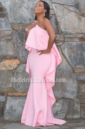Niecy Nash Pink One Shoulder Evening Prom Gown 21st Annual Critics' Choice Awards TCD6762