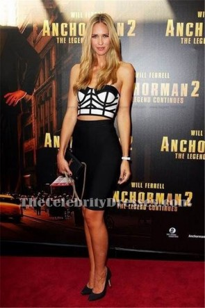 Nikki Phillips Sexy Black Bandage Cocktail Dress 'Anchorman 2: The Legend Continues' Premiere