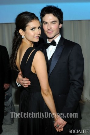 Nina Dobrev Black Evening Prom Gown Oscars Viewing Party