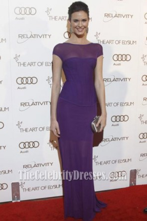 Odette Yustman Purple Prom Dress Art Of Elysium 2012 Red Carpet