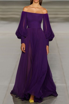 Solid Off-the-shoulder Lantern Sleeves Chiffon Long Dress