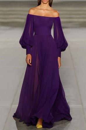 Solid Off-the-shoulder Lantern Sleeves Chiffon Long Dress