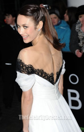Olga Kurylenko White Off-the-Shoulder Evening Prom Dress 'Oblivion' London Premiere