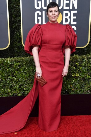 Olivia Colman Dark Red Sheath Formal Dress 2020 Golden Globes