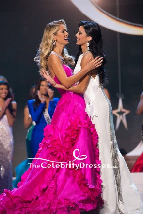 Olivia Jordan Fuchsia Strapless Ruffled Ball Gown Miss USA 2015 TCD7731