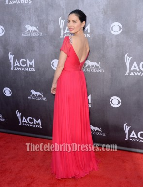 Olivia Munn Fuchsia Formal Dress 49th Annual Academy of Country Music Awards