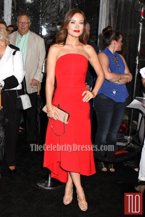 "Olivia Wilde Red Prom Dress ""We're the Millers"" Premiere"