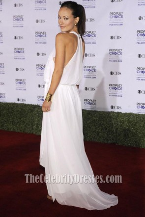 Olivia Wilde White Chiffon Evening Dress People's Choice Awards 2009