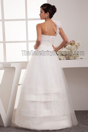 One Shoulder A-Line Beaded Floor Length Wedding Dress