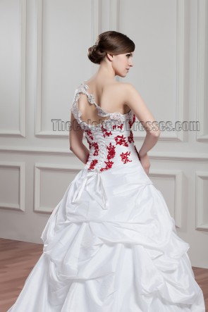 One Shoulder A-Line Embroidered Chapel Train Wedding Dresses