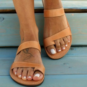 Open-toe Double Band Flat Sliders