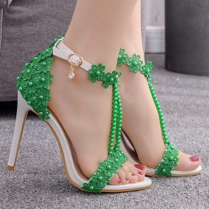 Open Toe Stiletto Heels Wedding Shoes With Ankle Strap