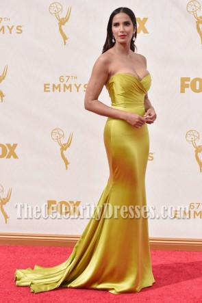Padma Lakshmi Gold Strapless Evening Prom Gown 2015 Entertainment Weekly Pre-Emmy Party TCD7046