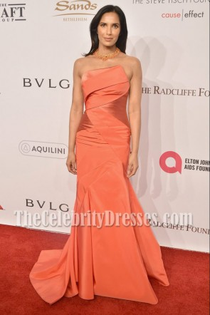 Padma Lakshmi Orange Mermaid Formal Gown Elton John AIDS Foundation gala 1