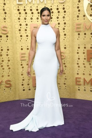 Padma Lakshmi White Halter Dress 2019 Emmys Awards