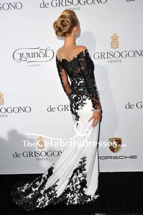Paris Hilton White And Black Long Sleeve Formal Dress Evening Gown TCD8050