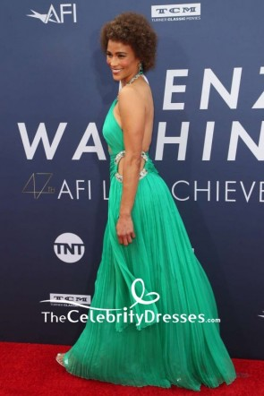 Paula Patton Green Cutout Halter Beaded Evening Dress Gala 2019 TCD8546