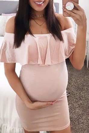Pearl Pink Off Shoulder Ruffled Short Maternity Dress