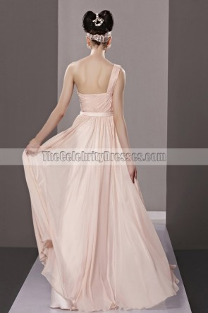 Pearl Pink One Shoulder A-Line Prom Gown Evening Dresses