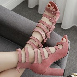 Peep Toe Sandals Multiple Belt Buckles With Zipper For Women