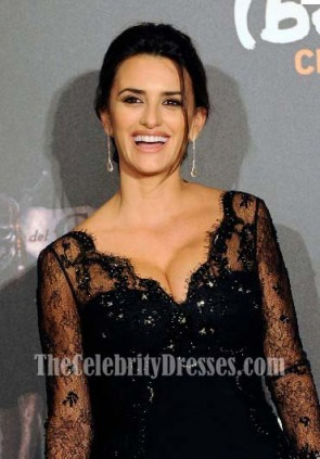 Celebrity Dresses Penelope Cruz Black Lace V-Neck Prom Dress Formal Gown Red Carpet