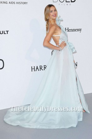Petra Nemcova Baby Blue One-shoulder Ruffle Slie Evening Dress amfAR Gala Cannes 2017 TCD7264