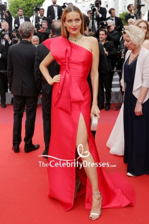 Petra Nemcova Red One-shoulder Thigh-high Slit Formal Dress 2019 Cannes Film Festival