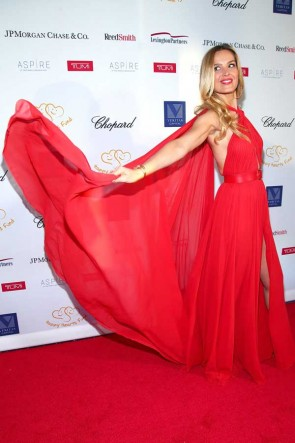 Petra Nemcova Red Halter Cut Out Evening Dress Happy Hearts Fund 2017 Graduation Gala Red Carpet TCD7345