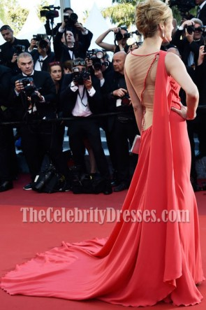 Petra Nemcova Red Long Train Evening Dress 69th annual Cannes Film Festival TCD7077