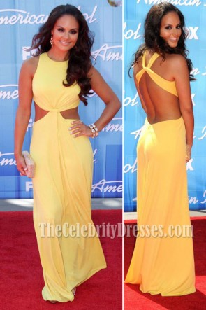 Pia Toscano Yellow Prom Dress American Idol Season 11 Grand Finale Show