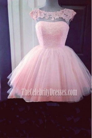 Pink A-Line Tulle Party Homecoming Graduation Dress