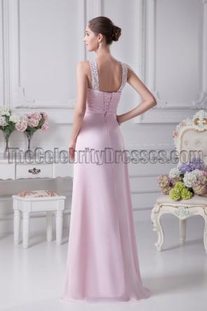 Floor Length Pink Beaded Bridesmaid Prom Dresses