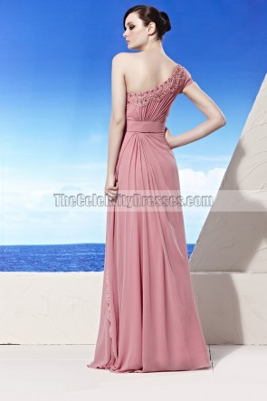Pink Floor Length One Shoulder Beaded Prom Gown Evening Dresses