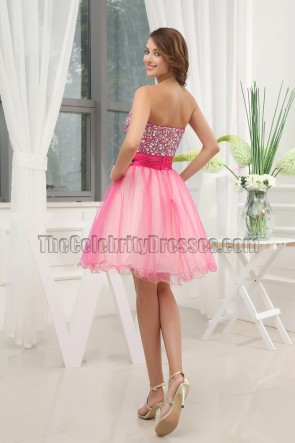 Short Pink A-Line Tulle Homecoming Sweet 16 Dresses