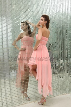 Celebrity Inspired Pink Strapless High Low Cocktail Party Dresses